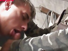 Two lads in military uniform trying to fuck sexy dude