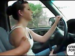 Amateur handjob on the highway