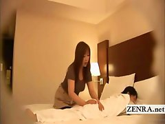 Within the confines of a Japanese hotel room a plump BBW masseuse of milf status tenderly kneads the buttocks of her prone client who engages in bante