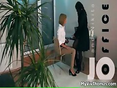 Two stunning office babes in sexy part2