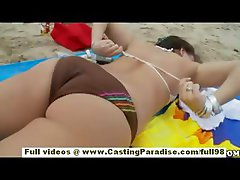 Sasha independent teen chick with natural tits and big ass is public flashing pussy on the beach