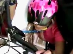 Girl In Cyclist Wear Mouth Gag Tied To Her Bicycle Getting Fucked Facial