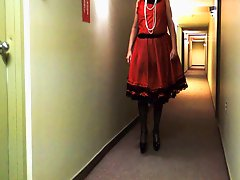 Sissy Ray in Red Dress in main corridor 2
