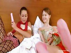 Two russian teenies enjoy threesome