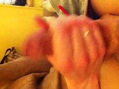 flashing handjob on sofa