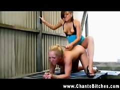 Dominatrix strapon screwing sub in tool shed