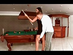 Classy Euro slut gets roughly nailed in the pool room