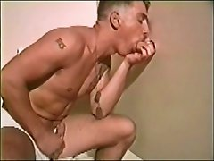 two nice cocks frott and cum at gloryhole
