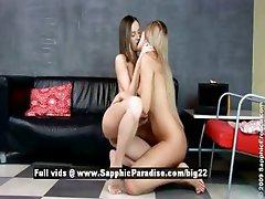 Ashlie and Larissa astonished teen lesbians toying