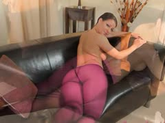 Purple nylon pantyhose on fluent babe