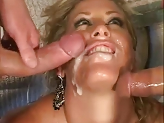 Filthy blonde whore mom takes on 2 cocks