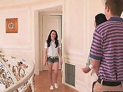 Stepmom jerks off boy in the hallway