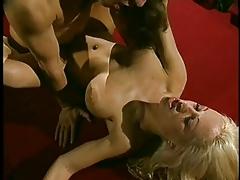 Huge boobie blond rammed over pool table