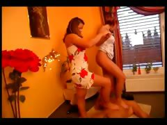 Horny slave loves to be trampled