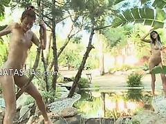 Three unique babes masturbate naked