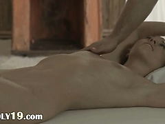 blond babe Carla banged on the table