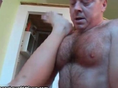 Busty redhead is fucked by a horny old man