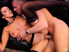 Slut stretched open by big cock