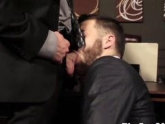Bearded lawyer fucks his gay client