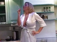 a stepmother in the kitchen early morning