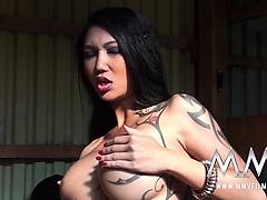Luscious Asian Kim XXX humped hardcore in the barn