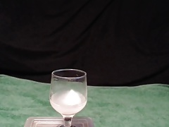 Taste and swallow cum from glass