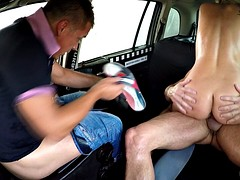 Threesome in the car with nympho blonde in heat