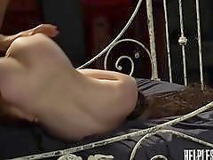 Young submissive slut deepthroats before her tiny pussy is impaled