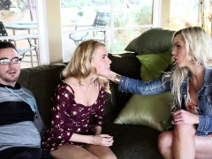 Horny teen couple get teached by stepmom