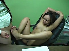 jaslin diaz gives a guy a footjob before he cums on her armpit