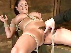 Hairy bondage bimbo Charley finger fucked by master BDSM porn