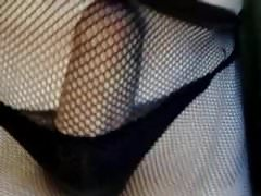 My New Brown Fishnet Nylon And Black Thongs 2