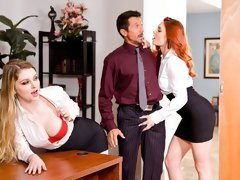 Two busty hotties Bunny Colby and Lacy Lennon are getting dominated