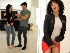 Curly-haired black goddess Misty Stone gets a very huge white dick