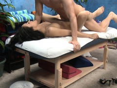 Pretty looking massage lady enjoys deep weenie insertion