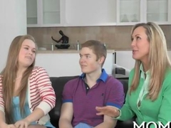 Teen couple spice it up with a milf