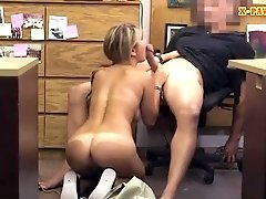 Hot blonde waitress railed by pawn dude at the pawnshop
