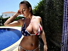 Wet girl with amazing boobs