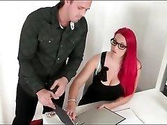Dress and stockings look hot on curvy office slut