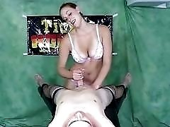 Bound slave boy cock teased by femdom mistress BDSM porn