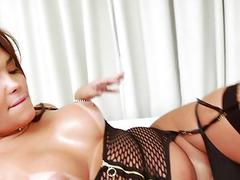 Busty tranny Bianca Petrovicky handjobs