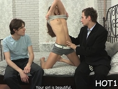 Stranger buys this girl and starts undressing her lazily