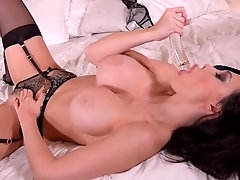 Sultry Moments: Busty Babe Crams Pussy With Glass Dildo!