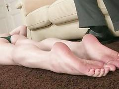 Lily LaBeau gives footjob and gets fucked