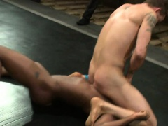 Inked jock wrestling with fingerfucked stud