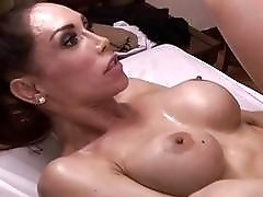Busty tranny ass fucked on massage table