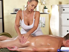 Oily slut rides a big one on massage table