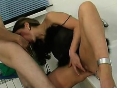 Pretty Blonde Ex Fucked Doggystyle While Being Doldo Banged