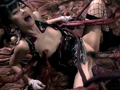 Lovely Japanese babe in uniform gets drilled by a monster