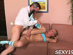 Enjoyable playgirl is getting spooned by horny old teacher